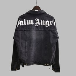 Wholesale asian denim jacket resale online – Mens Designer Jacket Palm Angels FW Long Sleeve Mens Denim Jacket Hip Hop Letter Printed Casual Fashion Streetwear Asian Size S XL