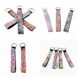 Pu bag material online shopping - lily Printing Key Chain Long Strip floral Lanyard Key Ring Diving Material Keychain Neoprene Eco Friendly Bag Pendant AAA2250