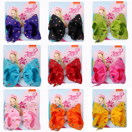 $enCountryForm.capitalKeyWord Australia - jojo siwa Hair Bows with Diamonds 14 Candy Color Jojo Bows With Clip hair accessories for girls 5 inch Hair Bow DHL SS198