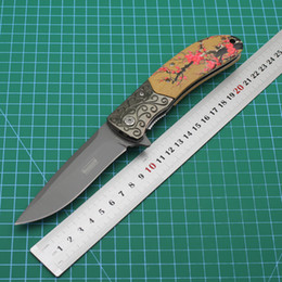 Carved wood heads online shopping - discount price Mini travel outdoor knife440C blade carved steel head steel blade wooden handle plum fast opening folding knife