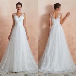 EmpirE waist boho wEdding drEss online shopping - Vintage Boho Lace Wedding Dresses V neck Zipper Empire Waist Bohemian Bridal Gowns Reception Party Dress