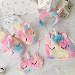 63597d1897d Unicorn Eye Mask Plush Toys Stuffed Toys Unicorn Drawstring Bag Hair Hoop  Unicorn Plush Slippers Girls Birthday Gifts CCA11276 20pcs