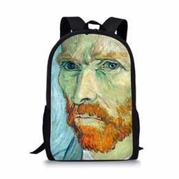 $enCountryForm.capitalKeyWord NZ - Men Van Gogh Famous oil Painting Children School Bags for Teen Boy Girls Students Pencil Bag Backpack Escolar Custom Bag