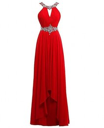 $enCountryForm.capitalKeyWord UK - Halter Red Crystals Evening Dresses Long Chiffon Ruched A Line Bridesmaid Dresses Womens Formal Party Gown