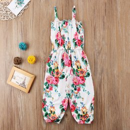 baby floral boots UK - Toddler Baby Girls Kids Floral Romper Jumpsuit Fashion Summer Sleeveless Playsuit Sunsuit Clothes 2-7Y