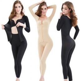 1dbe5718faf98 Women Full Body Shaper Bodysuit Waist Control Long sleeve Abdomen Seamless Shapewear  Thigh Slimming Underwear LJJP139