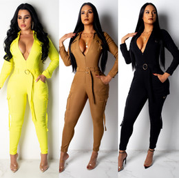 fashion suit womens Australia - Womens Jumpsuits Slim Fit Bodysuits Fashion Long Sleeve Long pants Jumpsuits Casual Suit Solid Color Asian Size S-2XL