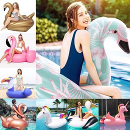 Discount children ride toys - Style Giant Flamingo Unicorn Inflatable Float Ride-on Duck Swim Air Mattress for Baby Child Adult Pool Party Toys Lounge