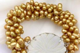 "$enCountryForm.capitalKeyWord Australia - bracelet 909504 4strands 8"" 8mm champagne pearl bracelet bangle shell"