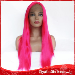 wig styles lace fronts 2019 - New Style Rose Red Long Straight Synthetic Lace Front Wig 180% Glueless Heat Resistant Fiber Free Part Cosplay Women Wig