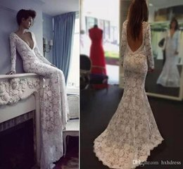 lace plunging back wedding dress NZ - 2020 New Berta Lace Mermaid Wedding Dresses Plunging Neckline Bridal Gowns Sexy Open Back Sweep Train Long Sleeve Backless Wedding Dress 735