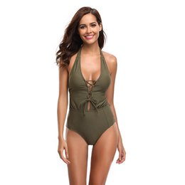 414fcfa3497 Army green one piece swimsuit online shopping - New Women s High waist  Swimsuit with Sexy