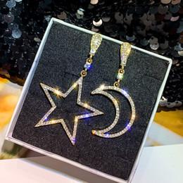 $enCountryForm.capitalKeyWord Australia - Big Rhinestone Moon Star AB Earrings For Women Classic Long Drop Hanging Statement Earrings Party Jewelry Wholesale