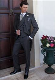 $enCountryForm.capitalKeyWord NZ - Tailcoat Morning Style Groom Tuxedos Dark Grey Groomsmen Peak Lapel Best Man Suit Wedding Men Suits Bridegroom ( Jacket+Pants+Vest+Tie )A520