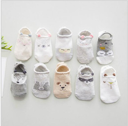 Cute Cartoon Pairs Australia - New five pairs of cute three-dimensional cartoon children's boat socks with anti-slip silicone baby socks in spring and summer of 2019