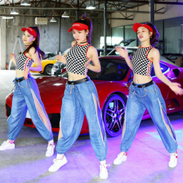 sexy women hip hop clothing Australia - Stage Costumes For Singers Plaid Vest Sexy Split Jeans Women Hip Hop Clothing Street Dancewear Nightclub Festival Outfit DT1039