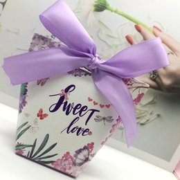 Butterfly Card Shapes Australia - 50pcs Sweet Love Light Purple Flower Butterfly Wedding Paper Gift Jewelry Candy Chocolate Box Anniversary Valentine's Day Favor box