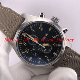 Wholesale 2019 NEW CHRONOGRAPH IW377725 men watch Professional design Pilot Army green woven leather strap Week Calendar Quartz wristwatch Best gift