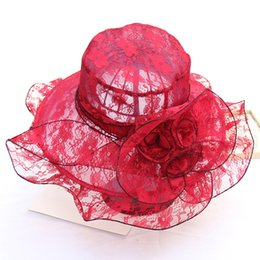 $enCountryForm.capitalKeyWord UK - Foldable Lace Hat Flat Breathable Wedding Women's Top Hat Outdoor Beach Party Travel Shade Designer Hat Wholesale Hot