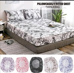 deep sheet sets Canada - Elastic Fitted Sheet Deep Pockets Up To 14 Inches Marble Printed Brushed Microfiber Mattress Covers Set 5 Size 6 Colors