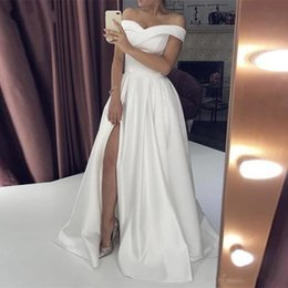 little bridal gowns Australia - Simple Cheap Prom Dresses Off The Shoulder Neckline Front Split Dresses Evening Wear A Ling Sweep Train Bridal Guest Gowns