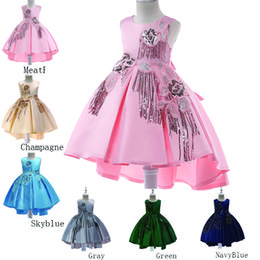 Ropa para niños Pasarela de niños Vestido de esmoquin Vestido de novia de princesa niña flor grande vestido de princesa de lentejuelas bordado falda de los niños