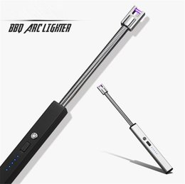 wholesale long lighters Australia - High Quality Electric Rechargeable USB Kitchen BBQ Long Igniter Windproof Pulse Arc Lighter For Candles and Fireworks free Shipping