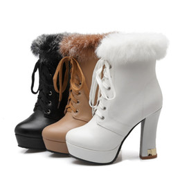 women lace up booties NZ - size 33 to 42 43 with box trendy lace up platform fur boots bridal wedding boots luxury women designer boots ankle booties