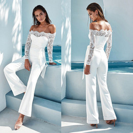 Wholesale blue jumpsuit belt for sale - Group buy 2020 Women Spring Lace Floral Solid Long Sleeve Jumpsuit Fashion Sexy Slash Neck Lace Patchwork Long sleeved Belt Sexy Jumpsuit