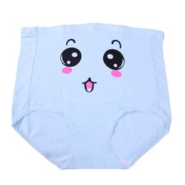Wholesale Direct selling new pure cotton high waist bracket abdomen adjustable cute pregnant womens smiling face underwear pants thin style is no