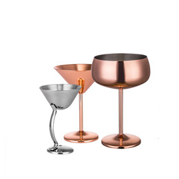 rose wine glasses Australia - Rose Gold Color Martini Glass Stainless Steel Red Wine Cups 304 Material Home Hotel Bar Cocktail Cup 27zy6 L1