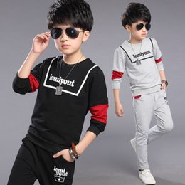 kids tracking suit NZ - Boys Sets Autumn Sport Suits Big Boys Alphabet Boys Kids Track Sets Black Gray Color 4-12 14 Ages Girls Clothes 10 12 Year 40 CY200515