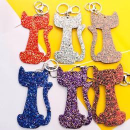 $enCountryForm.capitalKeyWord Australia - Single-sided glitter five-pointed star keychain pendant Korean fashion PU cat men and women bag ornaments car key chain H041