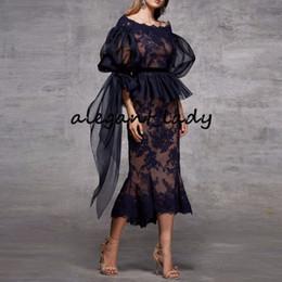 Flower carpet coral online shopping - abiye gece elbisesi Navy Blue Evening Dresses Mermaid Peplum Lace Elegant Evening Dress Sheer Sleeves Appliques abendkleider