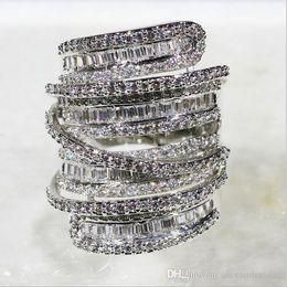 $enCountryForm.capitalKeyWord Australia - Luxury Pave set full Square T Simulated Diamond CZ gemstone rings jewelry Women 14K White Gold Filled Cocktail Band Rings size 5-10