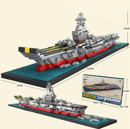 model aircraft carriers Australia - [TOP] DIY Assembly 1300pcs Diamond aircraft carrier 3D warship Boat model builing blocks Bricks education toy kids child best gift