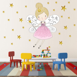Diy Art For Baby Room Australia - Gold Stars Beautiful Fairy Girl Vinyl Wall Sticker For Kids Bedroom Baby Room Decor Removable Wallpaper Wall Art Good Decals DIY