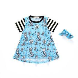 Blue striped children dress online shopping - Girl Dresses Stitching Striped Dress Underwater Mermaid Pattern Skirt Infant Child Polyester Short Sleeve Striped Sleeve
