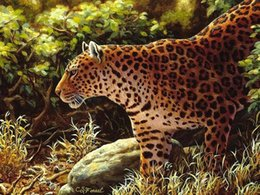 $enCountryForm.capitalKeyWord Australia - Artwork-leopard-painting-on-the-prowl-Unframed Modern Canvas Wall Art for Home and Office Decoration,Oil Painting ,Animal painatings ,frame.