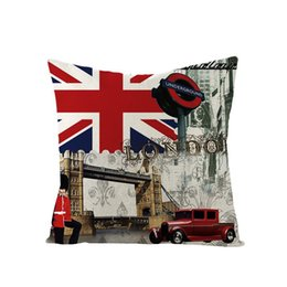 Wholesale Home Sofa Bed Decor Cushion Cover Single Side Print British Wind Pillowcase British Flag Square Cotton Linen Office Pillowcase BH1407 TQQ