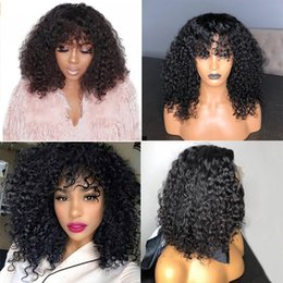 $enCountryForm.capitalKeyWord Australia - 250% Density Bob Wig Curly 13X6 Lace Front Human Hair Wigs With Bangs Brazilian Fringe Wig Pre Plucked Remy 360 Lace Front Wigs
