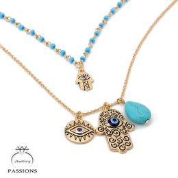 Discount hand blue eye pendant - Vintage Bohemia Double Layer Bead Necklace Chain Turkey Blue Evil Eye With Hamsa Hand Fatima Palm Necklace For Women