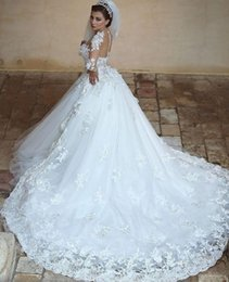 $enCountryForm.capitalKeyWord Australia - Elegant Long Sleeves Lace Ball Gown Wedding Dresses with Sheer Crew Neck See Through Back Arabic Puffy Skirt A Line Winter Bridal Gowns 98