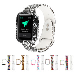 apple watch sport case NZ - Floral Printed Protective Cover Case Watchband for Apple Watch 40 44mm iWatch Band Protector Sport Silicone Bracelet Waterproof Wrist Strap