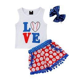 short baseball pants UK - Baby Baseball Clothing Sets Kids Sleeveless LOVE Letter Print Shorts Shirt Romper pants for Independence Day 3pc set Kids Clothing Sets