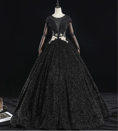 $enCountryForm.capitalKeyWord UK - Sparkly Black Ball Gown Gothic Wedding Dresses With Cap Sleeves Princess Floor Length Corset Lace-up Back Modern Non White Bridal Gowns