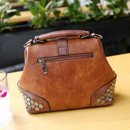 vintage leather doctors bag Australia - Vintage Small Doctor Top Handle Leather Handbags for Women Tote Sequins Luxury Rivet Design Brand Fashion Ladies Messenger Bags