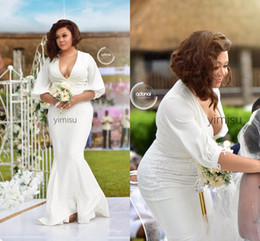 Ivory damas dresses online shopping - Ivory Plus Size Mermaid Bridesmaid Dresses Deep V Neck Half Sleeve Sweep Train Garden Country Wedding Guest Gowns vestidos de damas de honor
