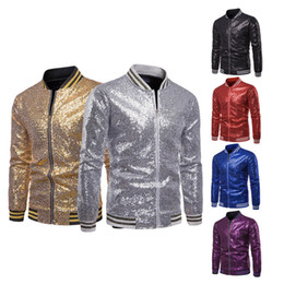 Discount gold blazers men - Sequins Gold Blazer For Men 2019 Slim Fit Mens Floral Print Striped Sleeve Coats 2XL British Style Prom Party Wedding Ja