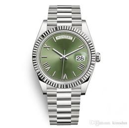 Men Wrist Watches Date Australia - 12 Day Date Luxury President Watches Men Day-Date Sapphire Cystal Geneva Automatic Mechanical Wrist Watch Silver Green Roma Face Wristwatch